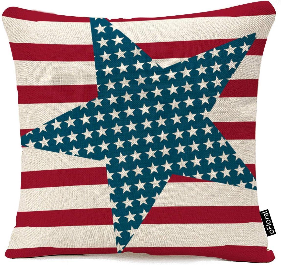 oFloral 4th July Vintage American Flag Patriotic Ornate Amenrican Flag Sofa Waist Throw Cushion Cover Pillow Case 18 x 18 Inch