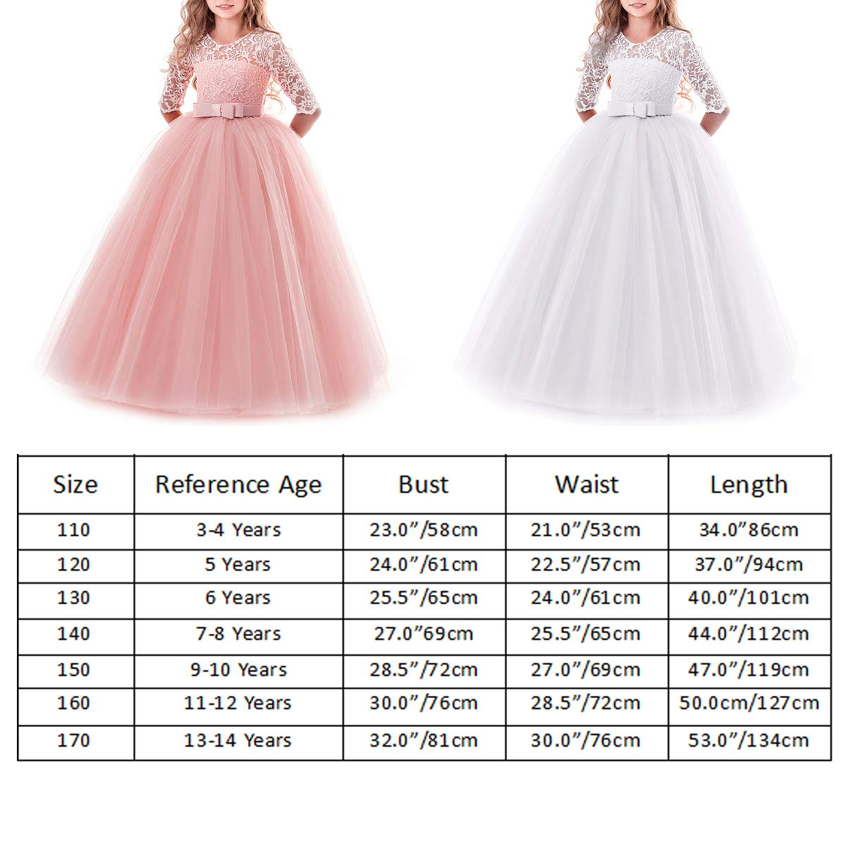 MYRISAM Flower Girl 3//4 Sleeve Tulle Lace Dress Birthday Wedding Party Ball Gown