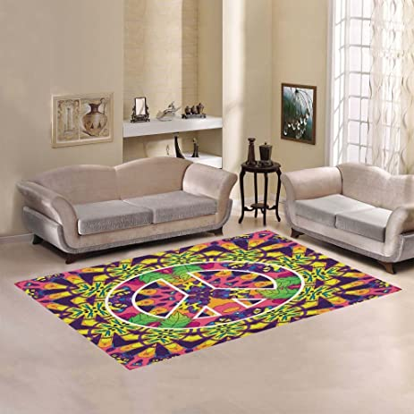 Custom Hippie Jungle Cat Area Rugs Carpet 7 X 5 Feet, Peace Sign Modern  Carpet