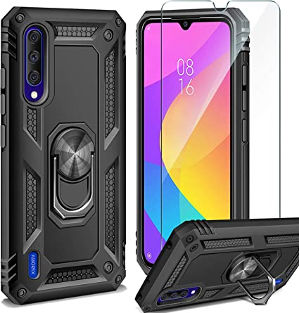 AROYI Funda Xiaomi Mi 9 Lite + Cristal Templado, 360 Anillo iman Soporte, Hard PC y Silicona TPU Bumper antigolpes Case Carcasa para Xiaomi Mi 9 Lite Negro: Amazon.es: Electrónica