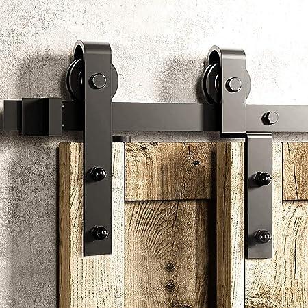 Herraje para Puerta Corredera Kit Kit de hardware de riel colgante de puerta de granero doble