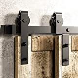 182cm(6FT) Kit de guía para puerta corredera Bypass Ferretería Polea de Rail suspendida sistema de puerta interiores en madera granero armario cuarto de, negro: Amazon.es: Bricolaje y herramientas