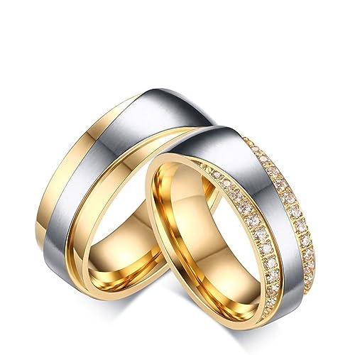 Blisfille 2 Piezas Anillo Oro Blanco con Diamantes Acero Inoxidable de Cúbicos Zirconia Banda de Boda Compromiso Anillo Pareja Forma Redonda