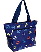 Women's Beach Shopper Tote Bag (Blue Anchors)