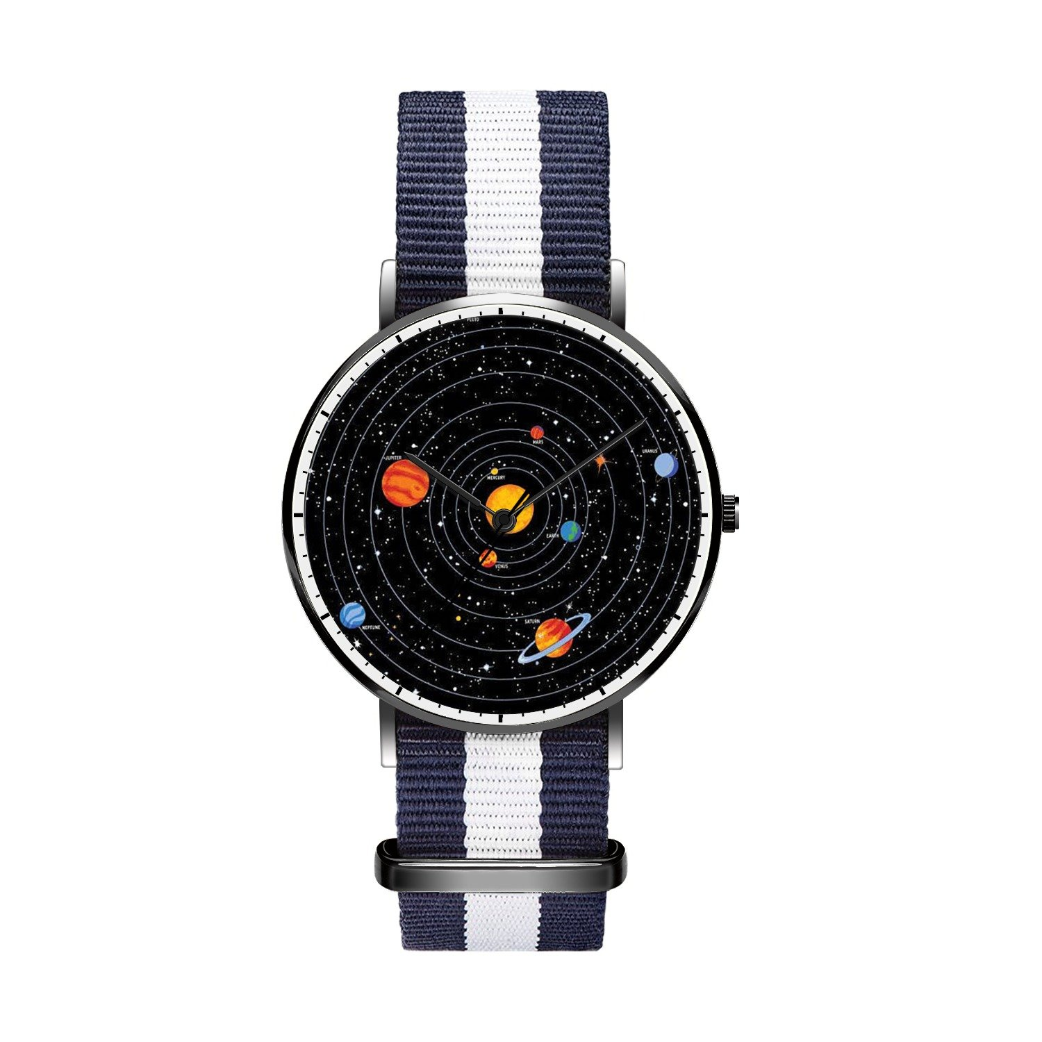 Mens watches, Youth Boys Black Japanese Quartz With Nylon Strap Analog Wrist Watches PracticalWaterproof and Minimalism Design,Idea Gift for Lover.- Solar System