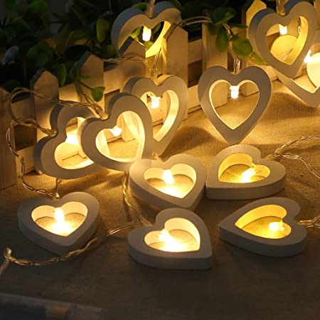 10 Led Lights Wooden Love Heart Fairy Lights Battery Operated