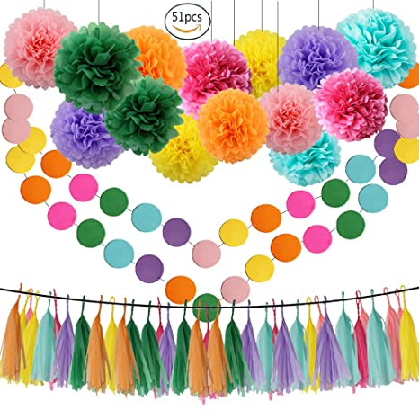 Amazon Com Rainbow Theme Tissue Pom Poms 51 Pcs Paper Flowers Baby