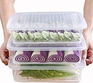 Set of 3Pcs Plastic Food Storage Containers,Stackable Fridge Storage Container with Removable Drain Tray and Lid,to Store Fruits, Vegetables, Meat and More