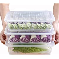 Set of 3Pcs Plastic Food Storage Containers,Stackable Fridge Storage Container with Removable Drain Tray and Lid,to…