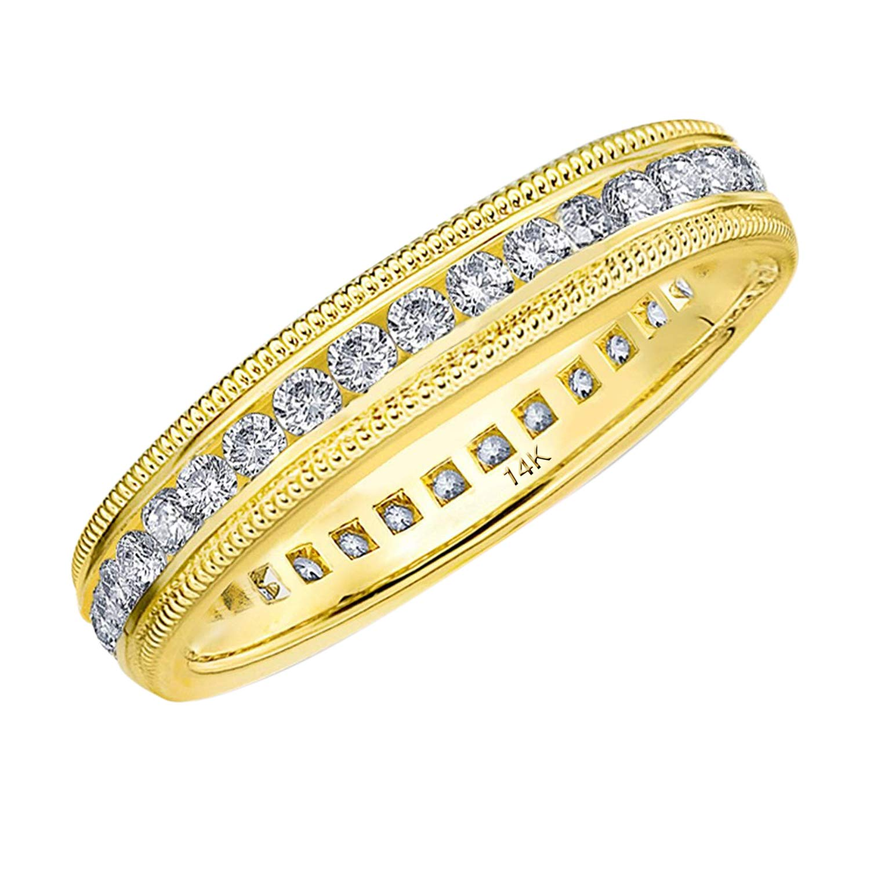 Eternity Wedding Bands .50 CTTW Genuine Diamond Eternity Ring in 14K Yellow Gold, Intricate Milgrain 1/2 ct Diamond Wedding Ring - Finger Size 7 by Eternity Wedding Bands