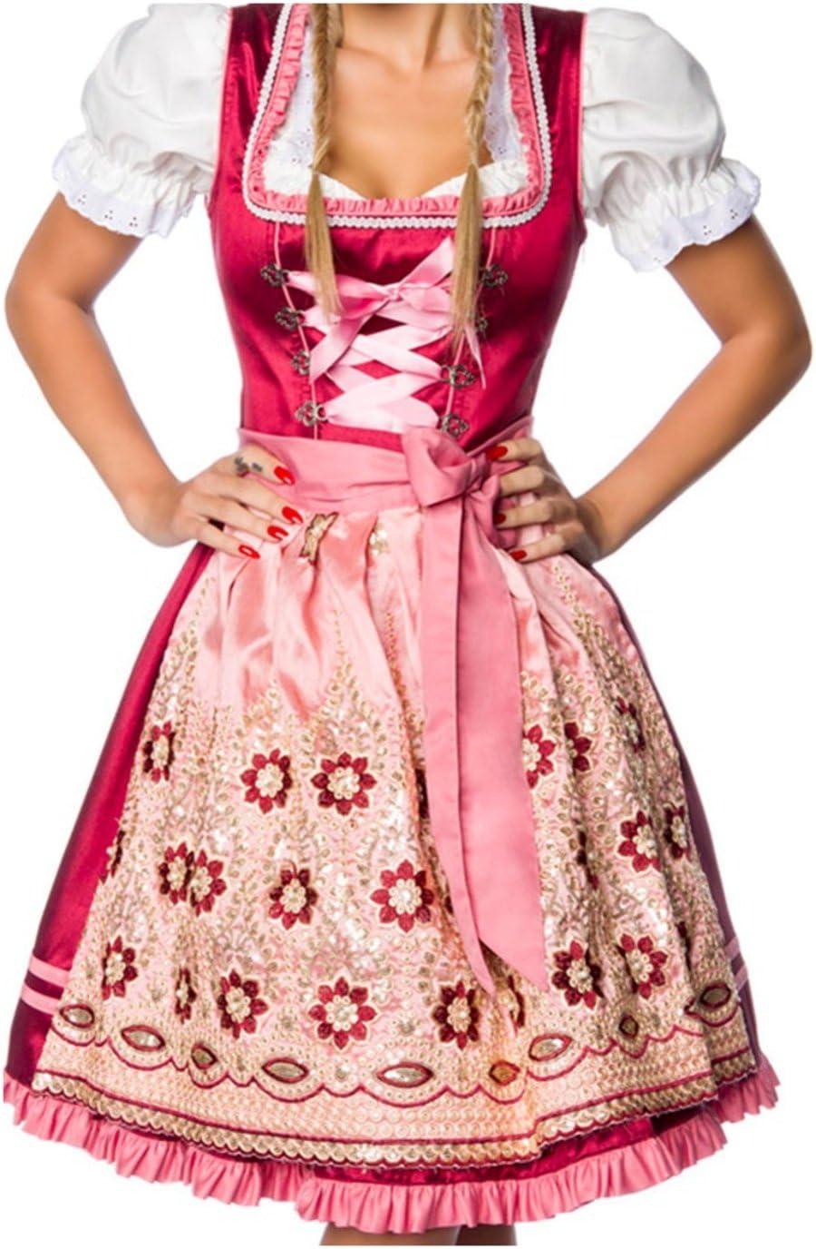 Premium Designer tirolesa con mano bordados rosa y rojo 3XL ...