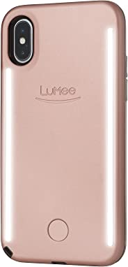 LuMee Duo Selfie Phone Case, Rose | Front & Back LED Lighting, Variable Dimmer | Shock Absorption, Bumper Case | iPhone X /