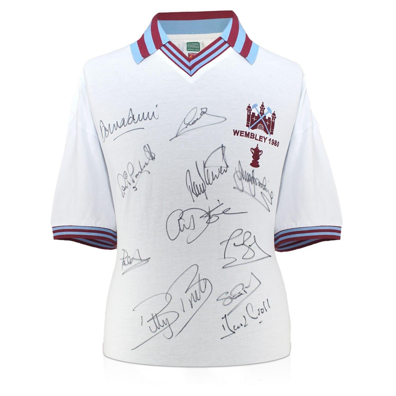 exclusivememorabilia.com Camiseta de fútbol West Ham United firmada por el Equipo Ganador de la FA Cup de 1980. En Caja de Regalo: Amazon.es: Deportes y ...