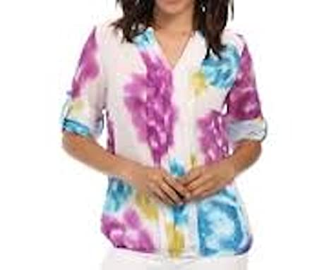 882b9f4b805 Image Unavailable. Image not available for. Color  Calvin Klein Pleated tie  dye Blouse Plus Size ...