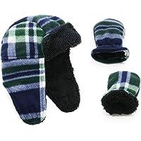 Zando Baby Boy Sherpa Lined Warm Fleece Pilot Hat Infant Toddler Winter Hat Mitten Set H Blue White Check M (1-2 Age)
