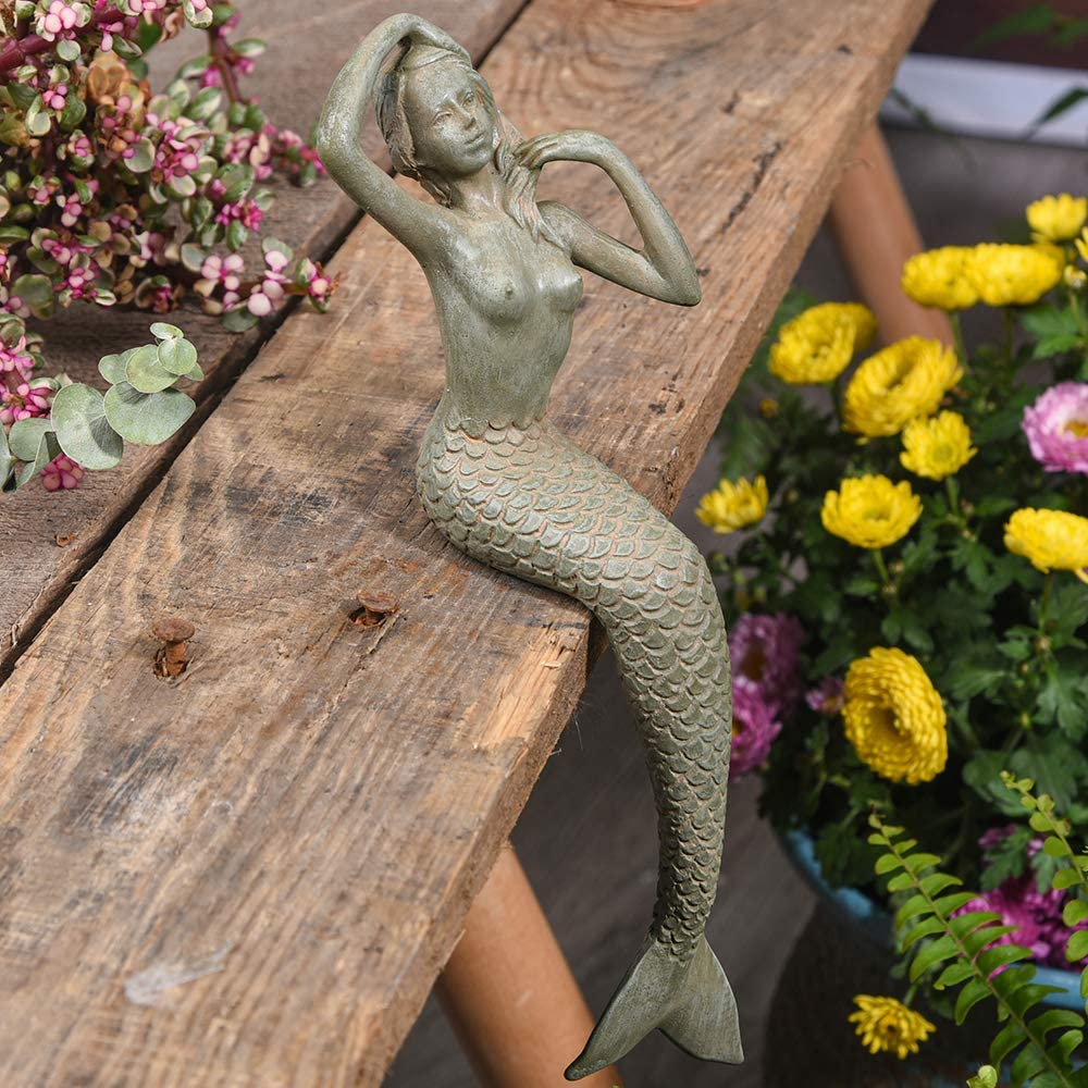 Sungmor Retro Style 8.66 Inch Heavy-Duty Sitting Mermaid Garden Statue Decoration | Premium Resin Indoor Outdoor Sculpture Decor | Gift Idea for Families & Friends