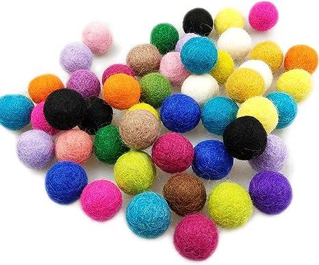 100 pompones de colores de 20 mm
