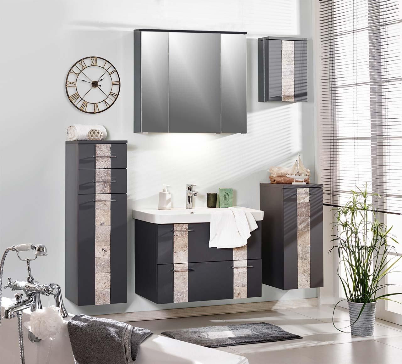 Badeinrichtung, Badezimmereinrichtung, Badmöbel, Komplettset, Badezimmer,  Modern, Grau, Spiegelschrank, Waschtisch, Waschbeckenunterschrank, ...