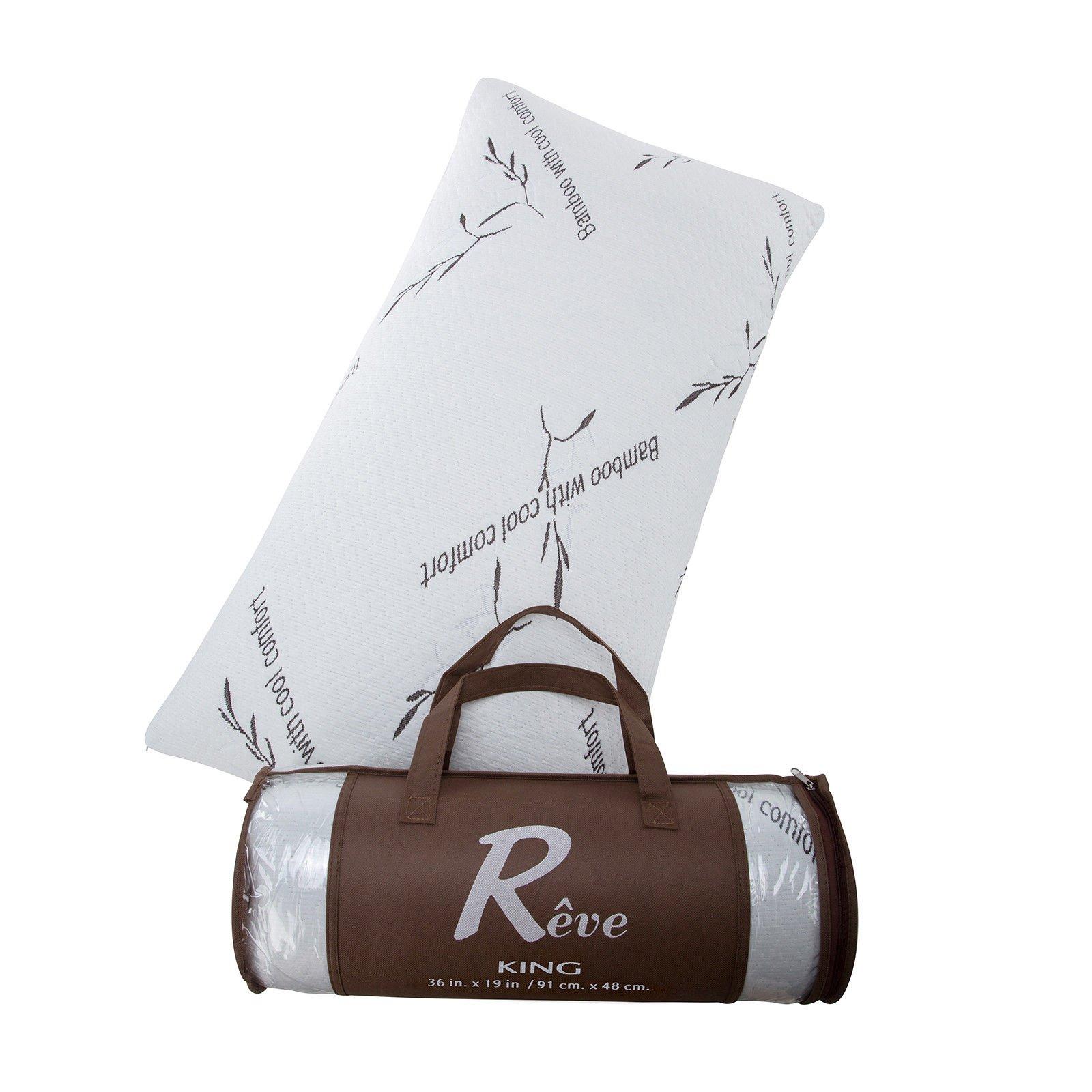 2 PACK Queen Hotel Bamboo Pillow Memory Foam Hypoallergenic Cool Comfort NEW