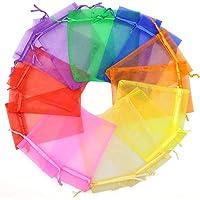 ANZNKU 80 bolsas de organza transparente de colores mezclados de 10 x 15 cm, con cordón para joyas, bodas, fiestas…