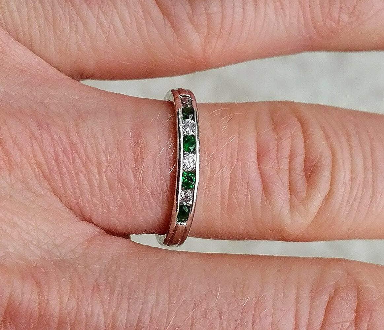Amazon.com: tusakha Channel Set Round CZ Diamond & Green Emerald ...