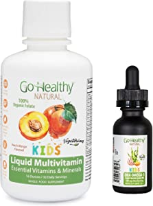 Go Healthy Natural Kids Liquid Multivitamin + Vegan Liquid DHA Omega-3 Algae Oil - 2 Pack Bundle