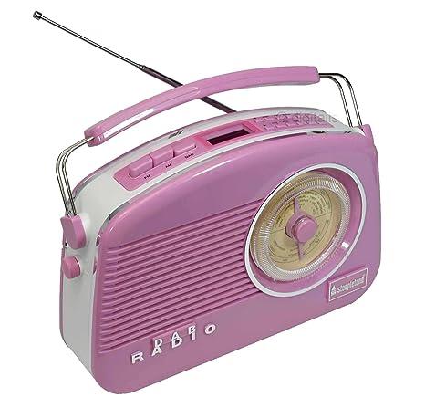 Steepletone Brighton Radio Vintage Style Shabby Chic Retro Radio FM//MW//LW Pink