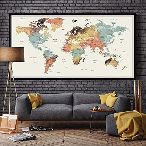 LARGE Wall Art World Map Push Pin Print/Watercolor World Map Print/Pushpin on map of the entire world, big map print world in, map of the whole world, detail map of whole world, map of pre-k posters of the world, printable map of whole world, binder paper size printable map of the world, big print united states map,