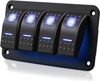 12V Bar Car Rock Waterproof Rocker Toggle Switch Blue LED Fog Light Sales