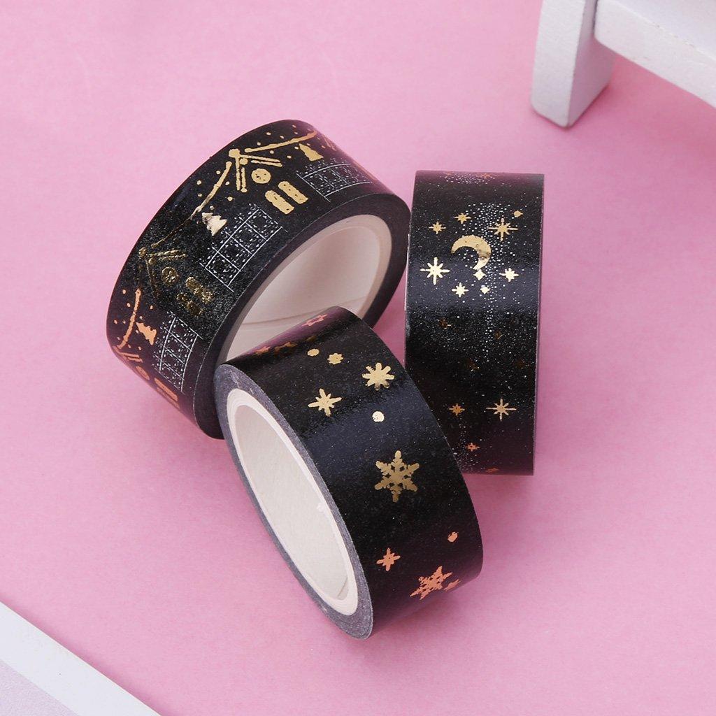 Cinta adhesiva decorativa para /álbum de fotos de Navidad Yuaierchen color dorado dise/ño de estrellas