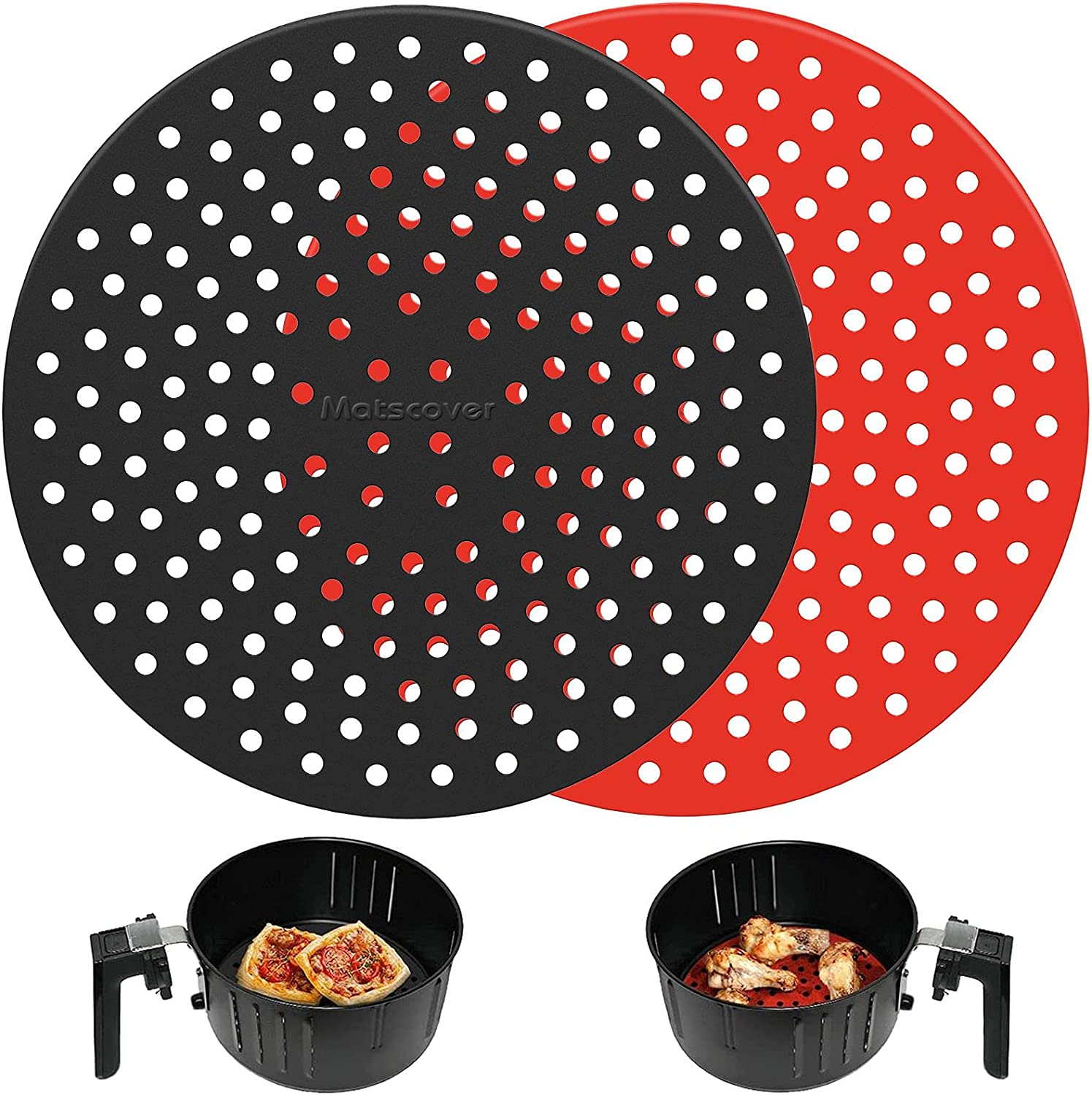 Upgrade Thicker Reusable Air Fryer Liners, 8'' Round Silicone Air Fryer Liners, Non-Stick Air Fryer Accessories for Gourmia NINJA Nuwave Chefman and More, Safe Air Fryer Mat Replace parchment