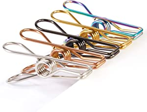 Chip Clips Bag Clips Food Clips - 28 Pack Assorted Colors Utility Clips Heavy Duty Stainless Steel Wire Chip Bag Clips for Kitchen Bread Open Bags Snack Bags Food Storage Bags (Assorted)
