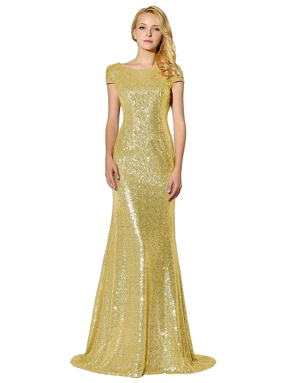 Belle House Women's Sequins Ball Evening Prom Gown Bridesmaid Dress HWM008