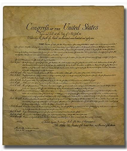 photo about Printable Bill of Rights titled The Invoice of Legal rights, Legitimate Duplicate Revealed upon Antiqued Straightforward Parchment. 14 X 16