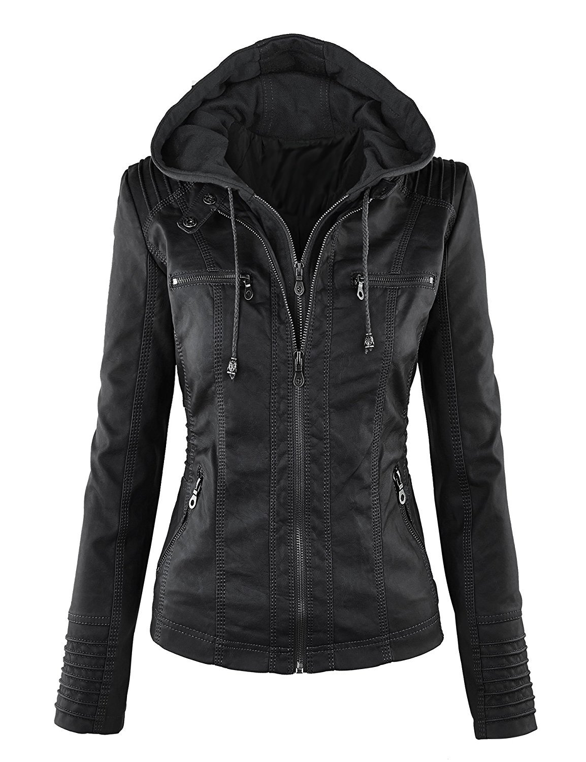 Showlovein Women Hooded Faux Leather Jacket Hat Detachable Motorcycle Jacket (Small, Black)