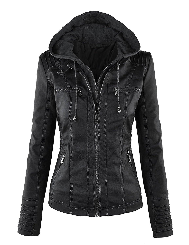 Showlovein Women Hooded Faux Leather Jacket Hat Detachable Motorcycle Jacket, Medium, Black