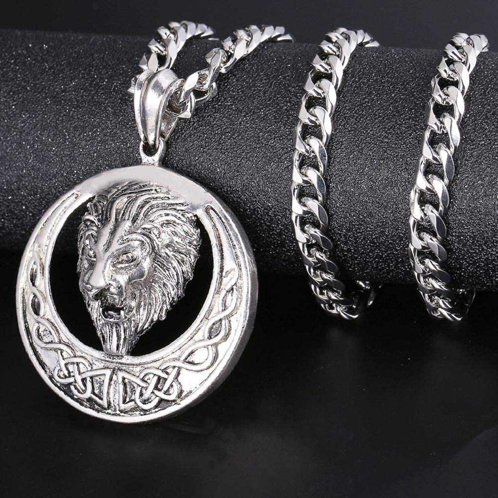 Onefa Men's Necklace, Men Hip Hop Necklace Full Iced Out Rhinestone Lion Tag Pendant Cuban Chain Jewelry