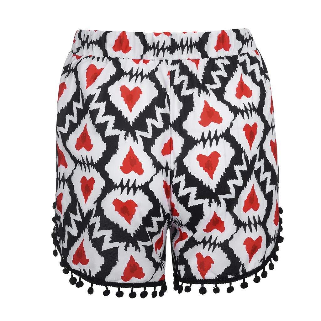 47a9c870af UROSA Womens High Waist Lace Print Elastic Shorts Pants Loose Shorts 2019  at Amazon Women's Clothing store: