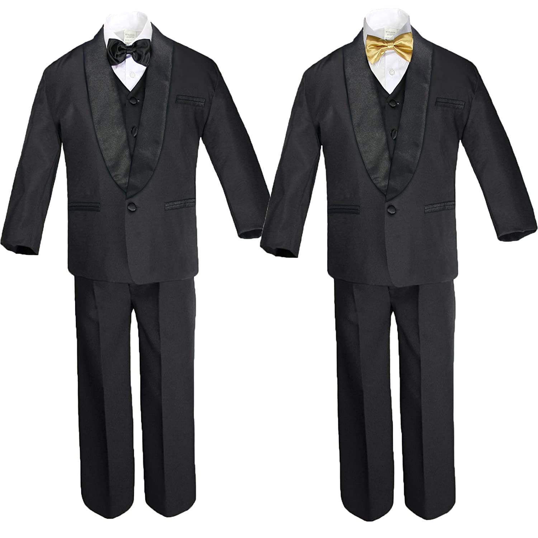 6pc Boy Black Formal Satin Shawl Lapel Suits Tuxedo extra Gold Bow Tie SM-18