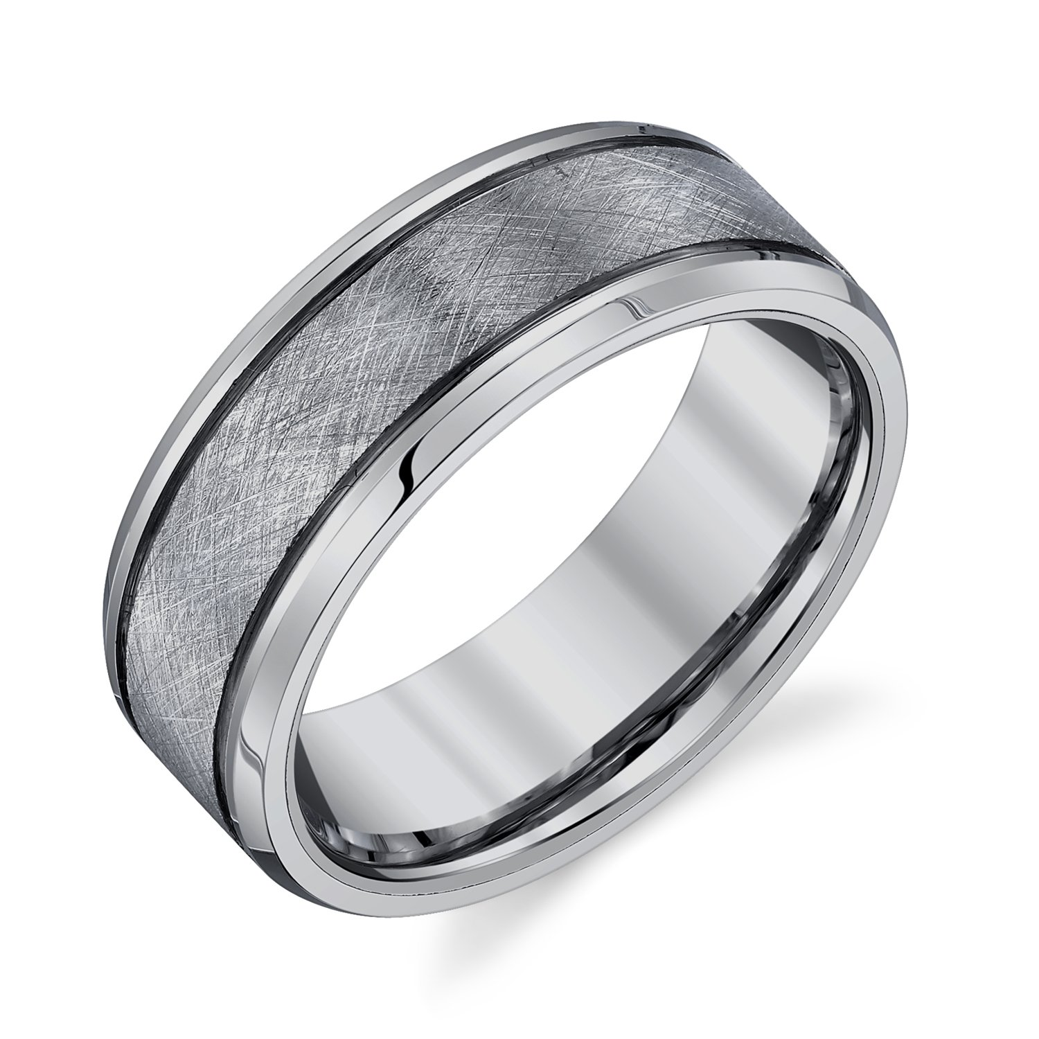 AX Jewelry Mens Tungsten 8mm Textured Band