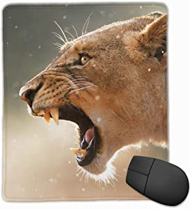 Gaming Mouse Pad, Personalized Custom Mouse Padnon-Slip Rubber Gaming Mouse Pad,Stay Positive Work Hard and Make It Happen Lioness-displaying-Dangerous-Teeth-in-a-Rainstorm