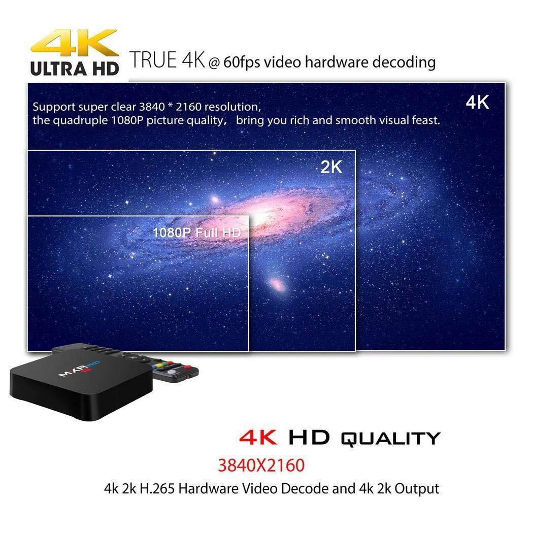 yagot MXQ Pro TV Box descodificador de Red Android 7.1 Inalámbrico 1080P Reproductor Smart TV WiFi Media Player 4K TV Box Accesorios (1 + 8GB)
