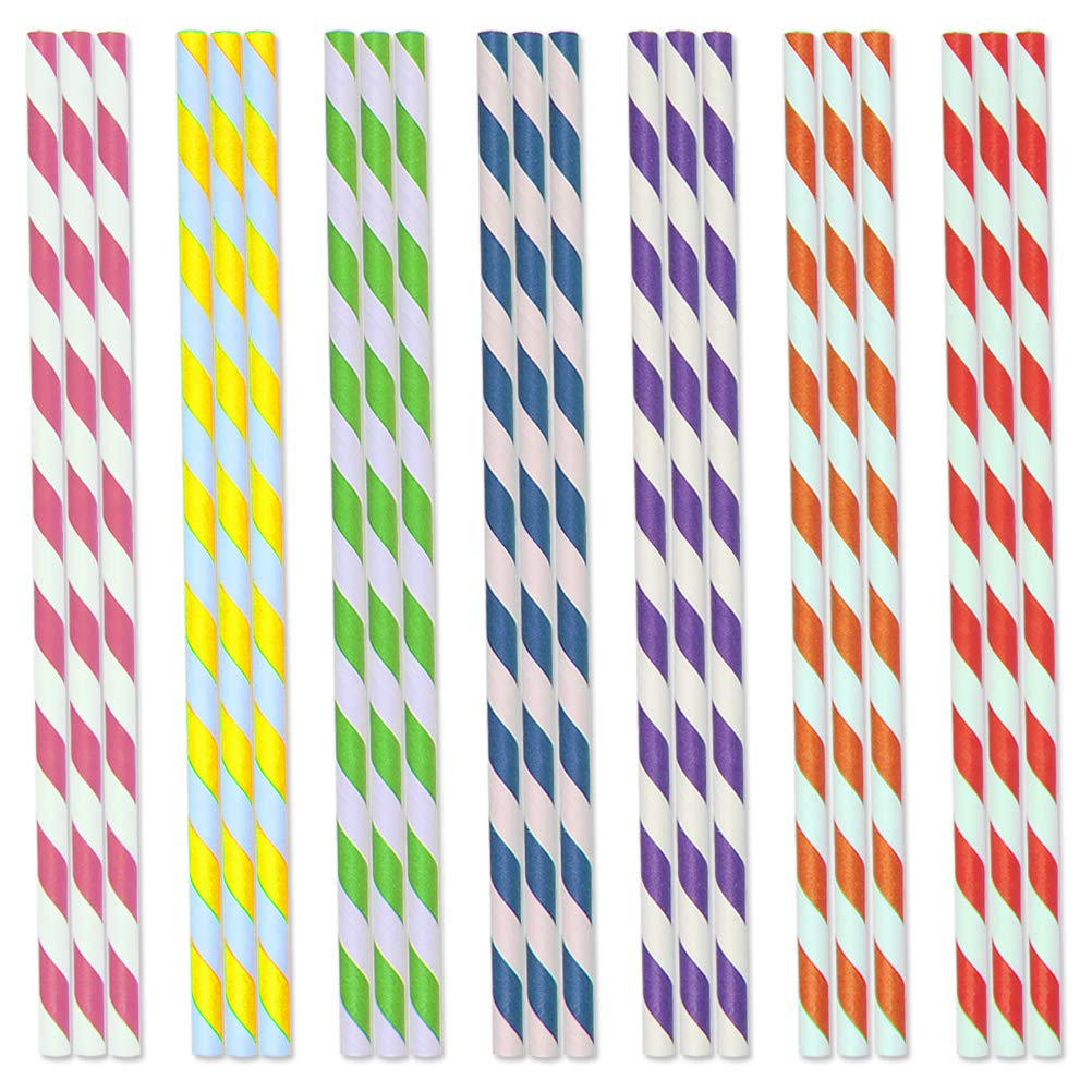 FOCCTS 175 Stü ck Papierstrohe Bunte Streifen Trinkhalme Einweg Papier Strohhalm fü r Party Geburtstag Hochzeit Weihnachten Kinder Dusche Valentine Multi-Farben