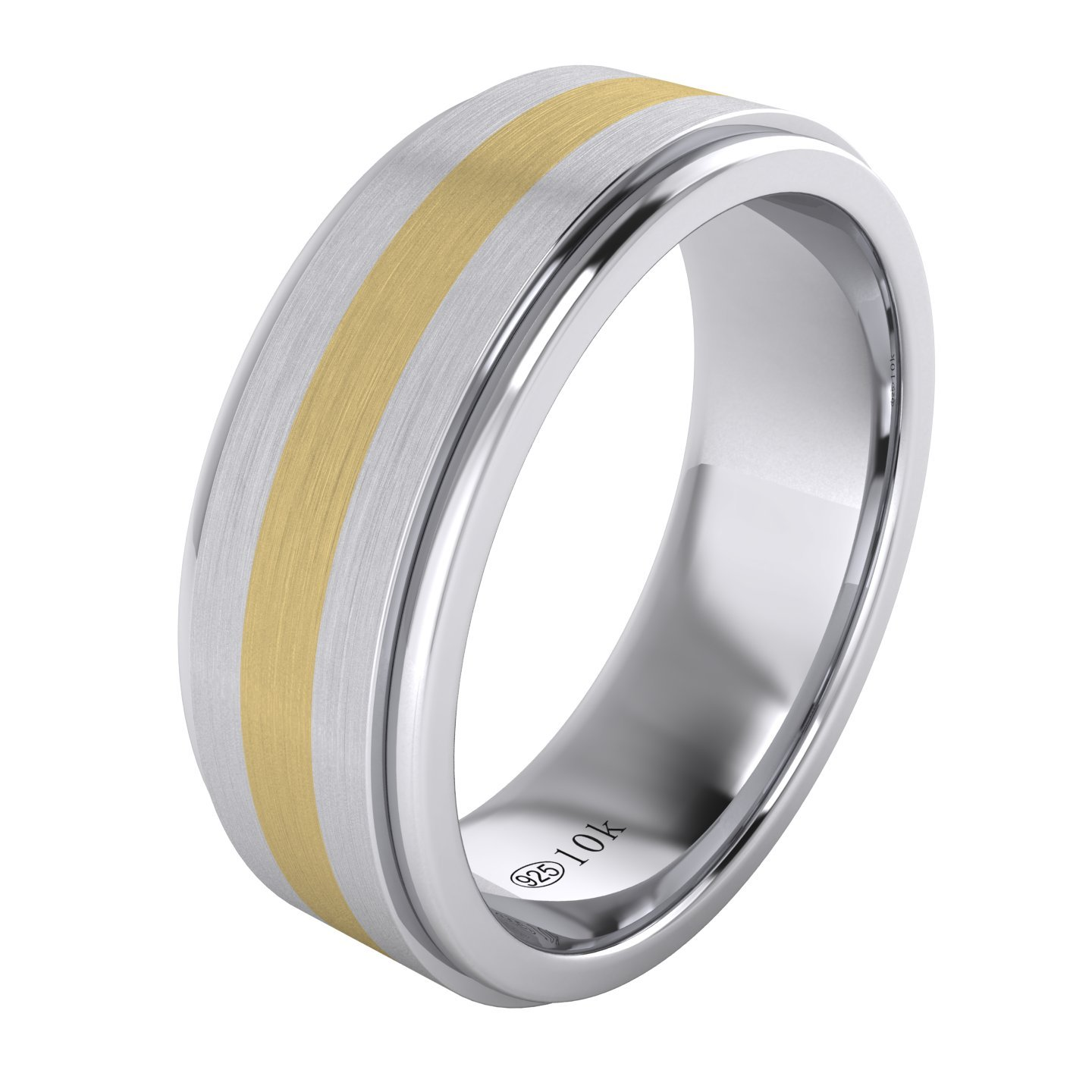 LANDA JEWEL Solid 10K Yellow Gold Inlaid Heavy 8mm Sterling Silver Mens Wedding Band Comfort Fit Two Tone (11)