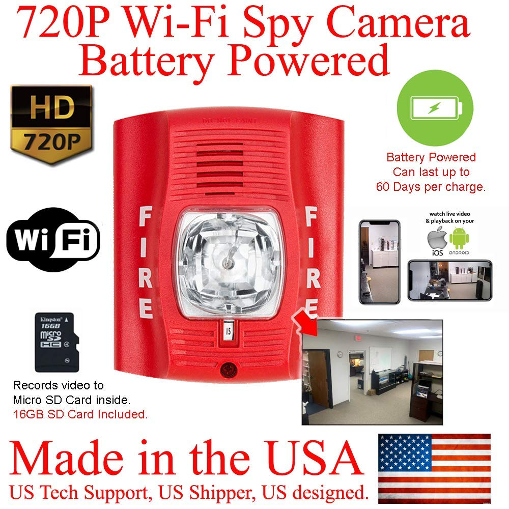 SecureGuard WiFi 60 Day Battery Powered 720P Fire Alarm Strobe Light Hidden Spy Camera (60 Day Battery, 16GB SD, 720P Resolution) by AES Spy Cameras