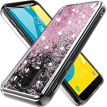 Funda Samsung Galaxy J6 2018 ,Mascheri [Ultrafina] Brillante bling Glitter Heart Lindo diseño