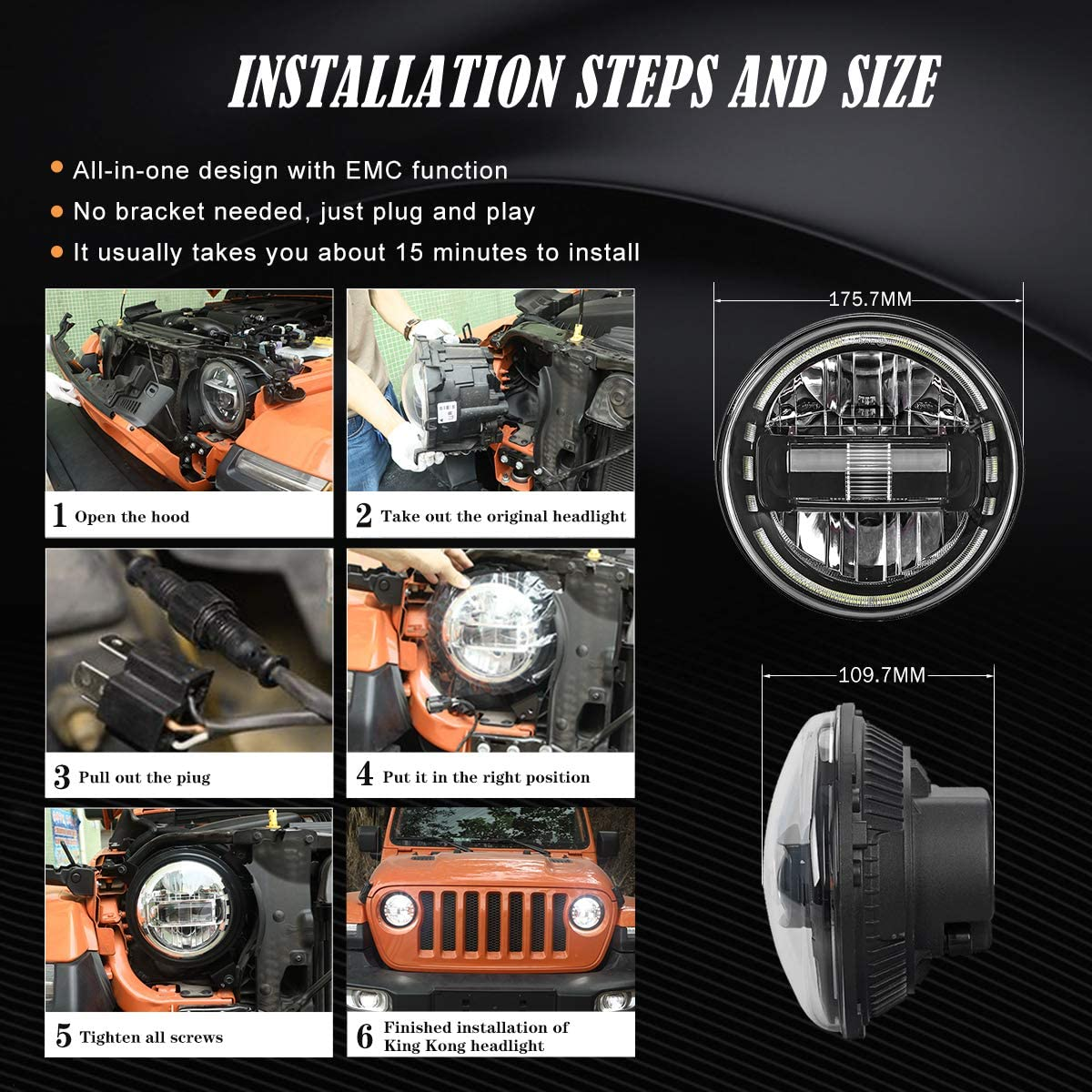 7 Inch Round LED Headlights DOT Compliant for Jeep Headlight with High Beam Low Beam DRL Compatible for Jeep Wrangler JK TJ LJ CJ 1997-2018 Hummer H1 H2 Headlamps Silver