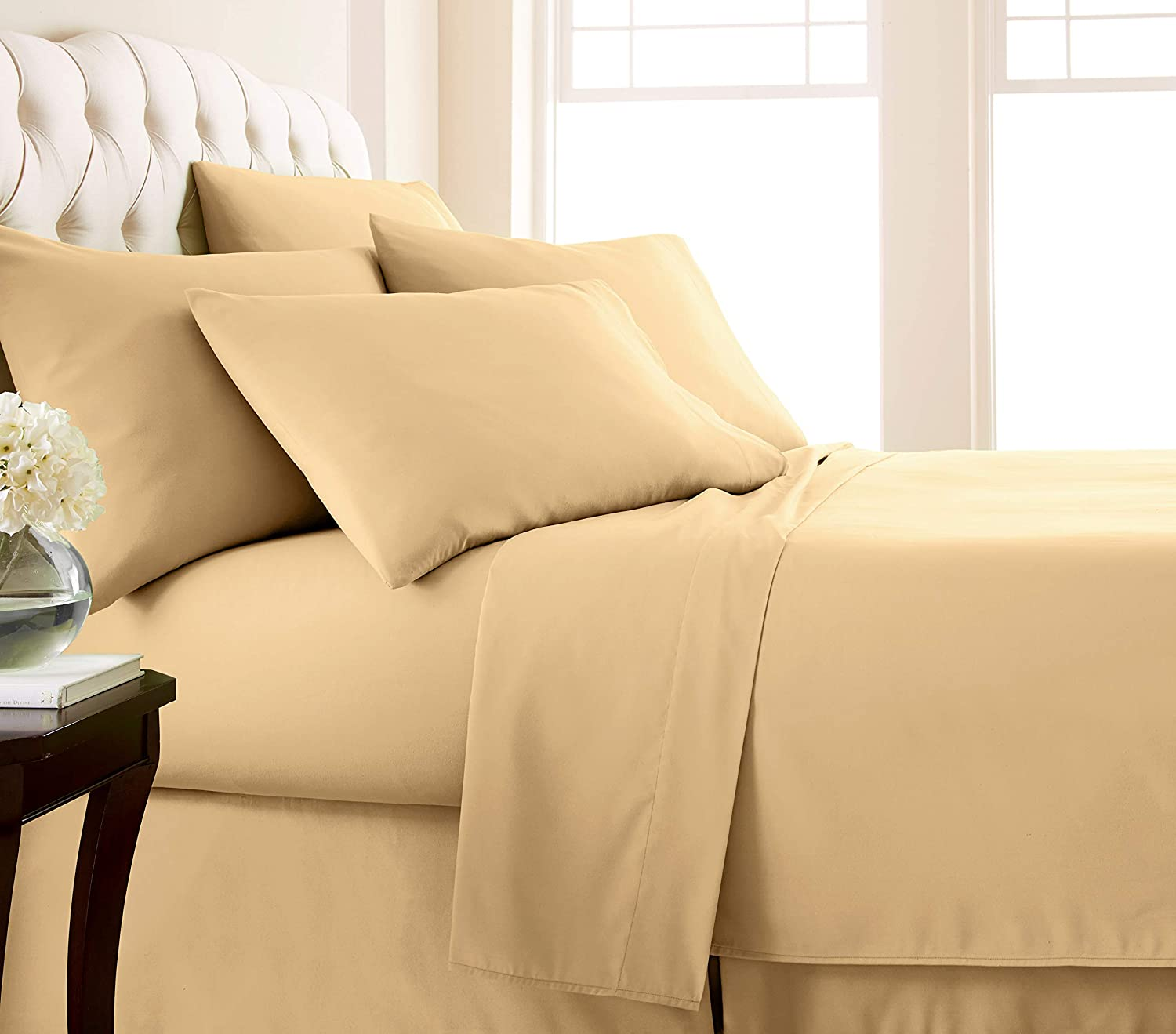 Southshore Fine Living, Inc. Vilano Springs - Premium Collection 6-Piece, 21 Inch Extra-Deep Pocket Sheet Sets, Gold, California King