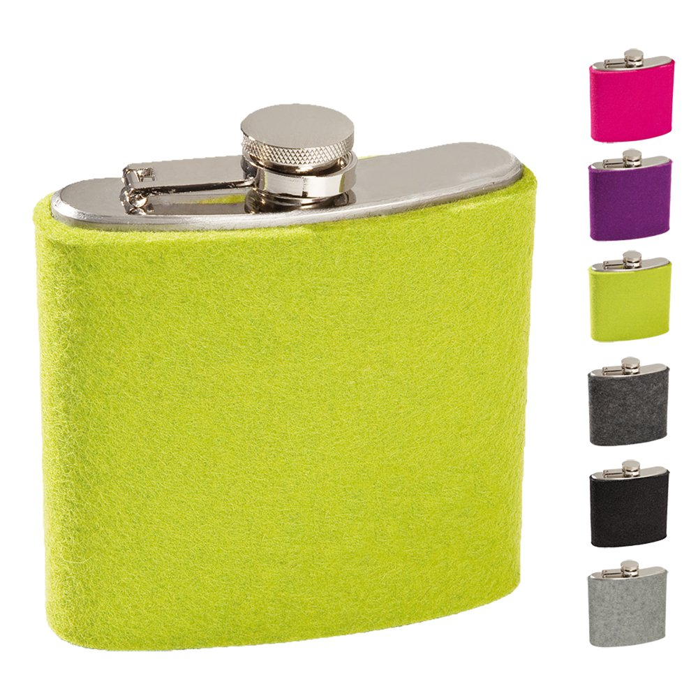 screw cap sturdy ebos Stainless Steel ✓ 6 Ounces Hip Flask ✓ with Felt Envelope 180 ml