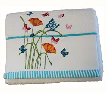 Homescapes Toalla de Manos de algodón Egipcio con Mariposas y Flores Bordadas: Amazon.es: Hogar